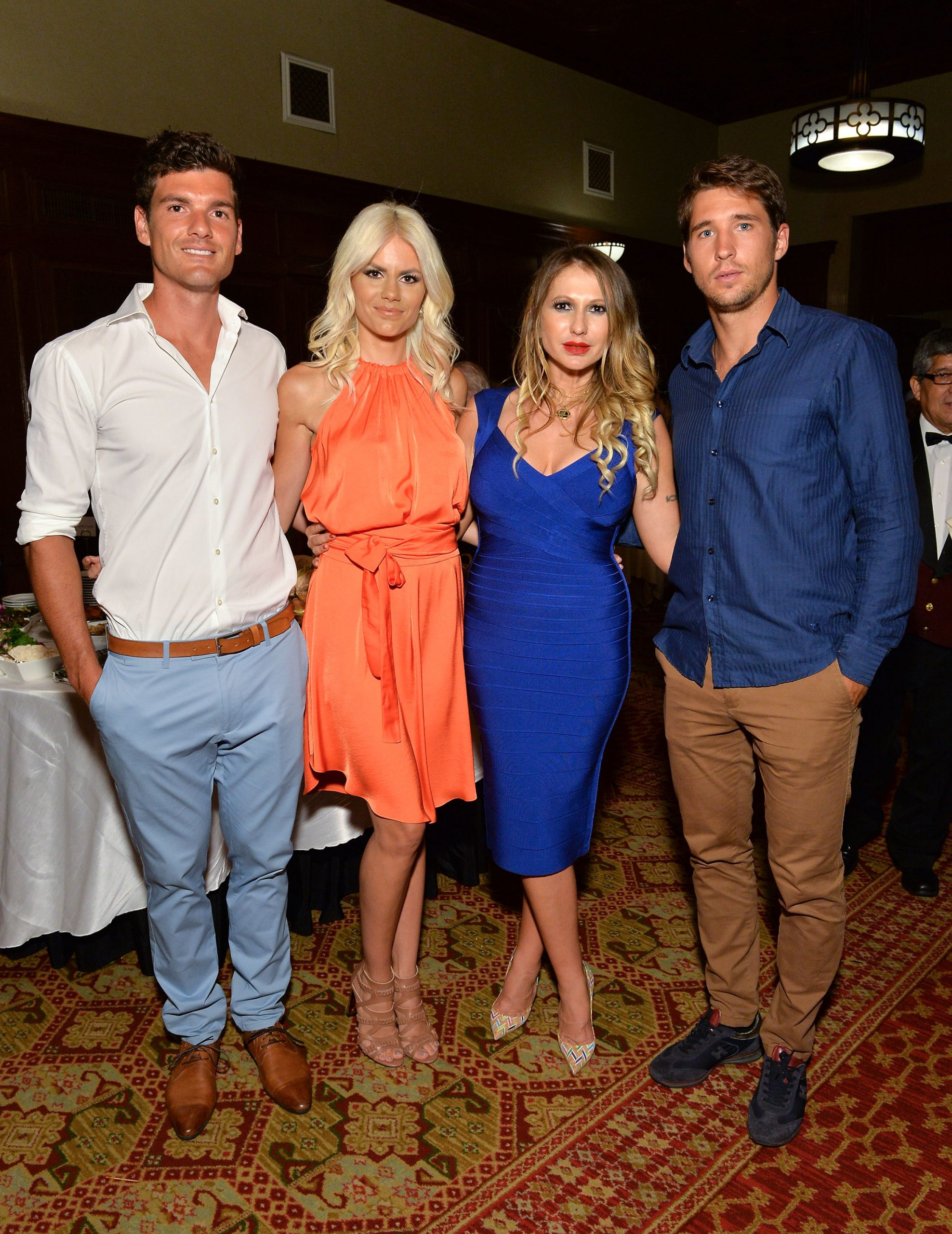 NEW YORK, NY - AUGUST 22:  (L-R) Frank Dancevic, Nikolina Bojic Dancevic, Mirjana Sladic, and Dusan Lajovic attend the Save Saint Sava Benefit at the New York Athletic Club on August 22, 2016 in New York City.  (Photo by D Dipasupil/Getty Images for Serbian Orthodox Cathedral of Saint Sava)